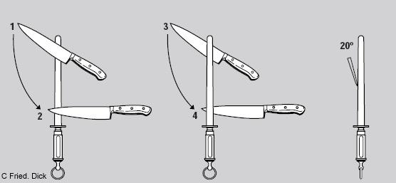 Benutzung eines Wetzstahls